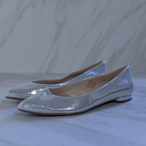Nine West silver sparkly pointed toe onlee flats